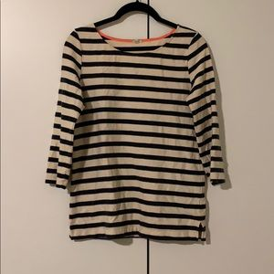Striped J Crew 3/4 Sleeve Boatneck Top